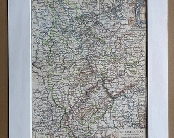 1896 Rhine Province Original Antique Map - Germany - Available Matted and Framed - Vintage Map