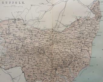 1868 SUFFOLK original antique map, english county, cartography, geography, wall decor, gift idea, victorian Decor, 13 x 10.5 Inches