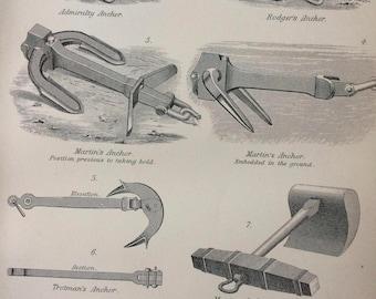 1891 Anchors Original Antique Engraving - Encyclopaedia Illustration - wall decor - home decor - Mooring Block - Anchor - Grapnel