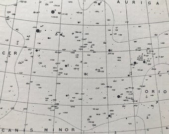 1923 Gemini Constellation Original Antique Print - Star Map - Astronomy - Mounted and Matted - Available Framed