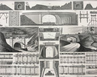 1849 Railway Tunnel Large Original Antique Engraving - Mounted and Matted -  Victorian Technology - Locomotive - Train - Available Framed
