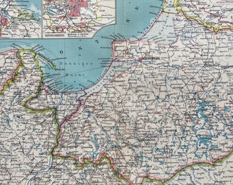 1924 East Prussia Original Antique Map with inset maps of Danzig and Koenigsberg - Poland - Germany
