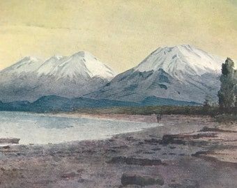 1908 At the foot of Lake Te-Anau Original Antique Print - Mounted and Matted - Available Framed - Vintage Wall Decor - New Zealand
