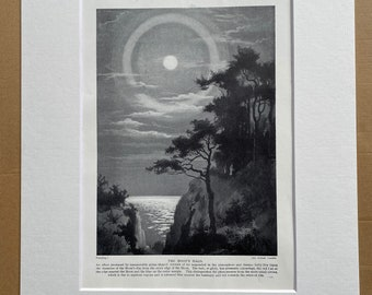 1923 The Moon's Halo Original Antique Print - Mounted and Matted - Available Framed - Astronomy