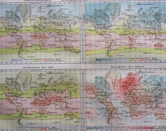 1896 Temperature Original Antique World Map - Isothermal Lines - Meteorology - Available Mounted and Matted