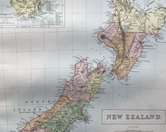 1876 New Zealand Large Original Antique A & C Black Map with inset map of Tasmania