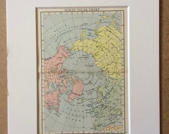 1895 North Polar Chart Original Antique Map - Mounted and Matted - 8 x 10 inches - Framed Map - Gift Idea - Framed Vintage Art