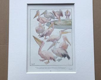 1919 Pelicans Original Vintage Margaret W. Tarrant Illustration - Animal Art - Available Framed - Nursery Decor - Children's Book