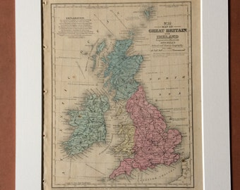 1855 Great Britain and Ireland Original Antique hand coloured Map showing populations, railroads and universities - British Isles
