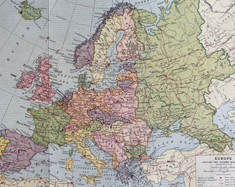 1940s Europe before the Second World War Original Vintage Map - Military History - Available Mounted and Matted