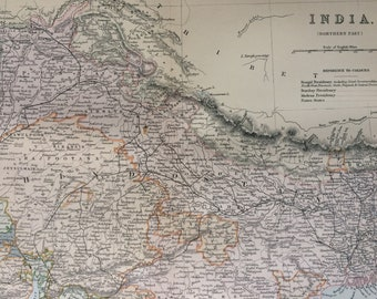 1891 India (Northern Part) Original Antique Map - Gift Idea - Vintage Map - Wall Decor