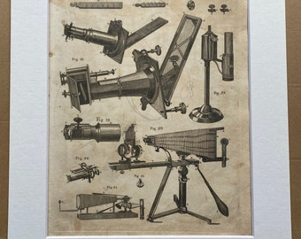 1806 Microscope Original Antique Engraving - Science - Encyclopaedia - Mounted and Matted - Available Framed