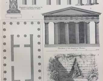 1891 Architecture Original Antique Engraving - Encyclopaedia Illustration - wall decor - home decor - Temple of Theseus - Atreus