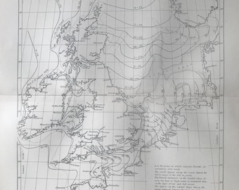 1891 Tidal Map of Britain and the North Sea Original Antique Map  - 9 x 12 Inches - Oceanography - Captain Hewett - Tides - Meteorology