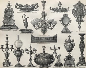 1897 Modern Bronze Art Industry Large Original Antique Print - Available Mounted and Matted - Chandelier - Candelabra - Vintage Wall Decor