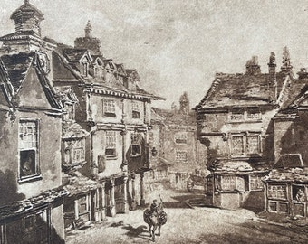 1902 Lichfield by JMW Turner Original Antique Photogravure - William Turner - Mounted and Matted - Available Framed