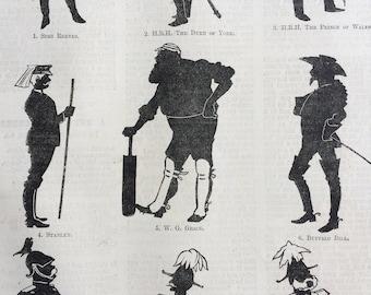 1893 Popular Figures for Shadow Shows Original Antique Engraving - Children Games - Victorian Decor