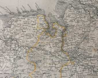 1877 Oldenburg Large Original Antique Map with inset maps of Birkenfeld and Lubeck - Available Mounted and Matted - Vintage Wall Decor