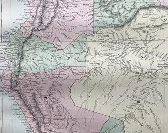 1876 Venezuela, New Granada, Ecuador, Peru Large Original Antique A & C Black Map - Colombia - South America - Wall Decor