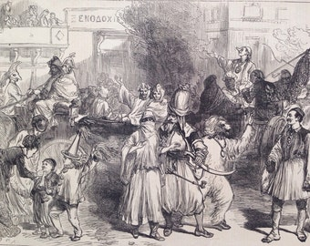 1877 The Carnival at Athens Original Antique Engraving, Athens Street Scene, Greece, Victorian Decor, Illustrated London News