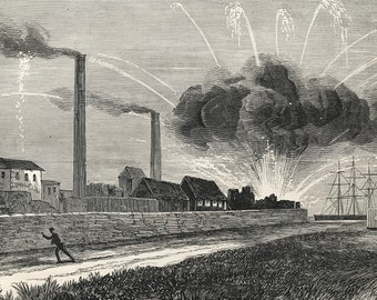 1883 The Explosion of the Rocket Factory at Woolwich Arsenal Original Antique Print - Mounted and Matted - Available Framed - Local History