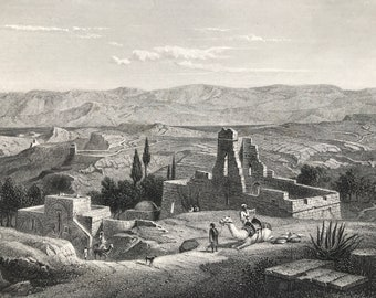 1880 Bethany Original Antique Engraving - El Eizariya - Israel - Palestine - Landscape - Mounted and Matted - Available Framed