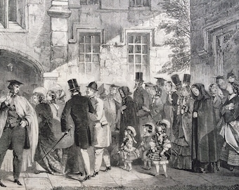 1858 Miserable Sinners, Christchurch, Oxford Original antique Engraving - Religion - Christianity - Victorian Decor - Wall Art