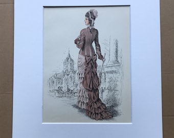 1949 Original Vintage Fashion Illustration - 1881 - The Pursuit of Fashion - Mounted and Matted - Available Framed