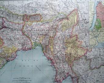 1903 The Bengal Provinces, Burma & Southern Tibet Large Original Antique Map, 15.5 x 20.5 inches, Harmsworth map, Bangladesh