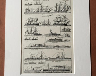 1923 Sailing and Steam Ships Original Antique Print - Mounted and Matted - Available Framed - Sailing - Sailor - Ships - Marine Decor