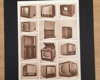 1959 Televisions Original Vintage Print - Mounted and Matted - Retro Wall Art - Technology - 1950s Decor - TV - Unusual Unique Wall Decor