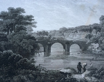 1817 Canoby - Dumfriesshire Original Antique Engraving - Scotland - Borders - Bridge - Architecture - Vintage Wall Decor - Available Framed