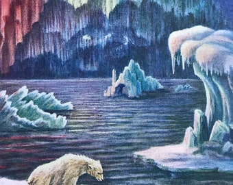 1930s Northern Lights - Aurora Borealis Original Vintage Print - Polar Bear - Arctic - Mounted and Matted - Available Framed