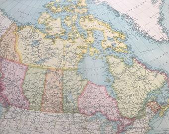 1922 Dominion of Canada Original Antique Times Atlas Political Map - Large Wall map - Wall Decor - Home Decor