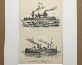 1891 War Vessels Original Antique Print - Military Decor - Duilio and Italia - Machine Guns - BLR and MLR Guns - Available Framed