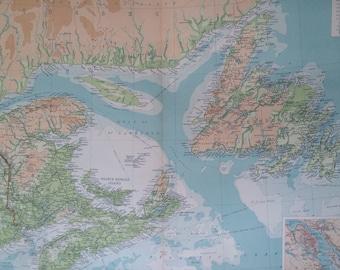 1922 Maritime Provinces & Newfoundland Large Original Antique Times Atlas Physical Map - Large Wall Map - Canada - Halifax