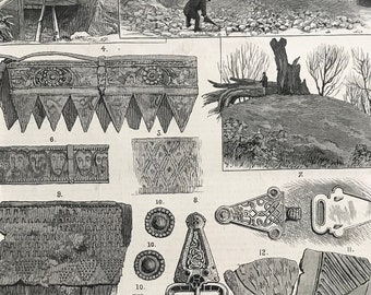1883 A Vikings Tomb, Lately Discovered at Taplow Court, near Maidenhead Original Antique Engraving by Louis Wain - Mounted and Matted - Kent