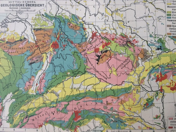 1888 Geological Map Of Central Europe Original Antique Map Etsy