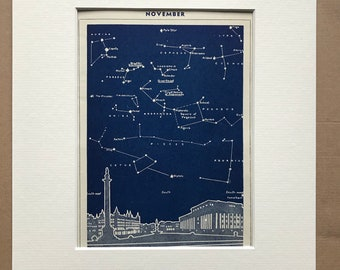 1940s November Star Map seen over Liverpool Original Vintage Print - Mounted and Matted - Astronomy - Celestial Art - Available Framed