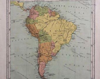 1865 South America Original Antique Hand-Coloured Engraved Square Map - Nelson's Atlas - Wall Decor - World Map - Home Decor