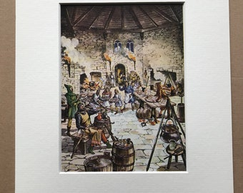 1940s Medieval Kitchen Illustration Original Vintage Print - Mounted and Matted - Cauldron - Castle - Knights - Available Framed