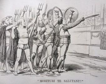 1880 Moroturi Te Salutant! - last session of 1874 parliament opens - large original antique political satire print, 10.5 x 17 inches
