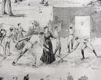 1893 Garden Games Original Antique Matted Engraving - Sporting Decor - Sport - Golf - Crazy-golf - Croquet - Quaint Victorian Decor