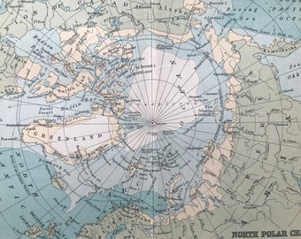 1912 North Polar Chart Original Antique Map - North Pole - Polar Regions - Arctic - Mounted and Matted - Available Framed