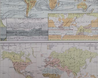 1898 Large Original Antique A & C Black World Map - Map showing Physical Features and Ocean Currents and Ethnological Map - Gift Idea