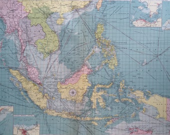 1920 East Indian ports - South East Asia - mercantile marine map - extra large original vintage map