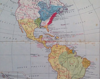 1940s Historical Map of America showing discovery and independence dates - original vintage map
