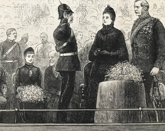 1883 Prize Distribution to the Second Volunteer Battalion Royal Fusiliers Original Antique Print - Mounted and Matted - Available Framed