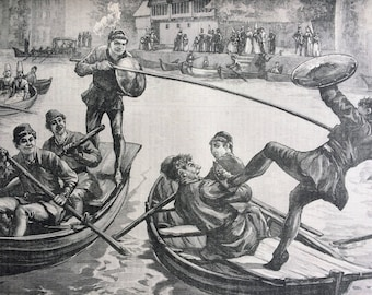 1891 A Water Tournament in the Fifteenth Century by E. Morant Cox Original Antique Engraving - Available Framed - Victorian Decor