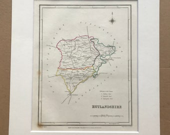 1845 Rutlandshire Original Antique Hand-Coloured Engraved Map - UK County Map - Available Framed - England